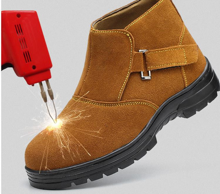 2019 Work Electric Welder Genuine Leather Safety Anti-puncture Anti-smashing Men Safety Shoes Steel Toe Work Shoes Flats