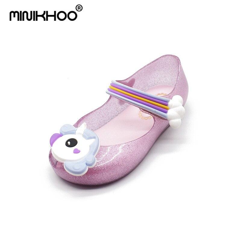 Mini Melissa 2018 New Summer Sandals Melissa Unicorn Shoes New Winter Jelly Shoe Fish Mouth Girl Non-slip Kids Sandal Toddler