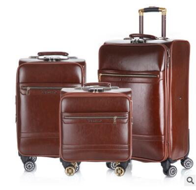 18 Inch 20 Inch Men Spinner suitcase Luggage 24 trolley Suitcase PU Travel Rolling baggage bag On Wheels Travel Wheeled Suitcase baggage