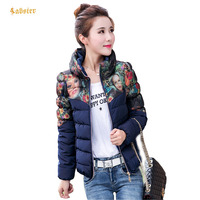 2017 Winter Jacket Women Parka Slim Print Short Jacket Ladies Warm Parkas Stand Collar Coat Fashion Female Outerwear