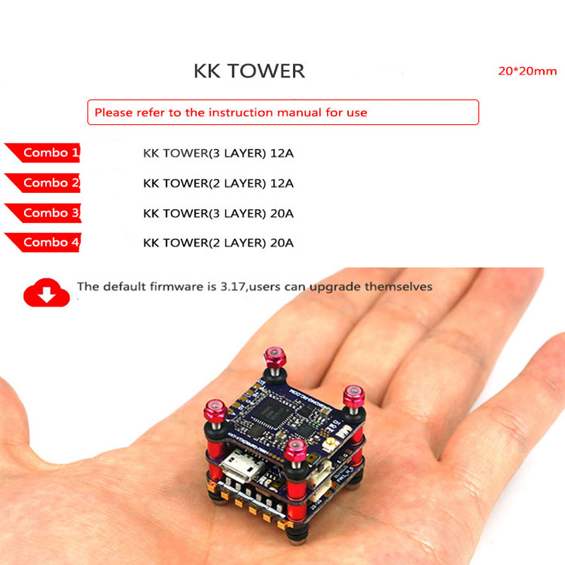 Kingkong 3/2 layer Flight Tower FC Tower F4 Flight Controller F4 FC F4 4in1 ESC 20A 12A w/OSD Speed Control 200mw VTX For FPV RC