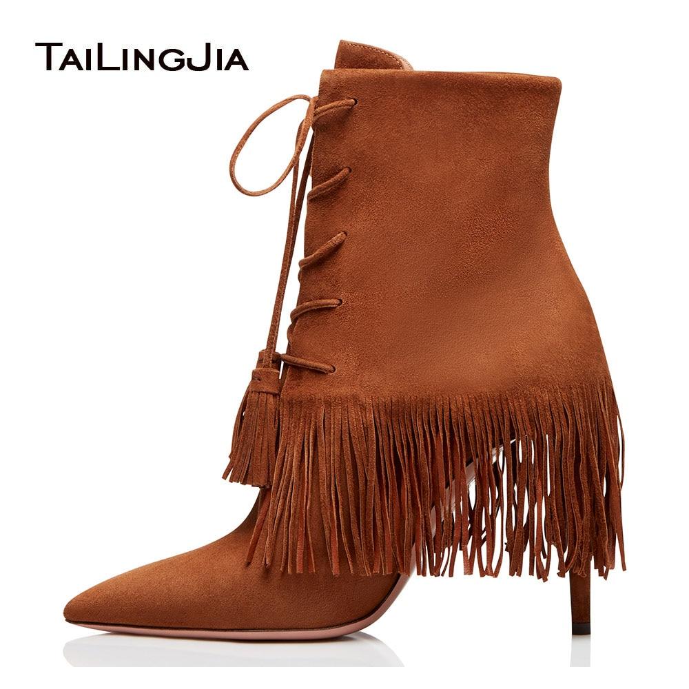 Bottes Bottillons Chaussures Cheville Haut Lace Pointu 2019 Rouge Mince Brown Bout Fringe D'hiver Dames Talon Up Automne Brun Gland red Femmes Courts qFwx0OYUW