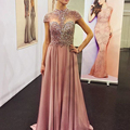 Real Photos Chiffon Gary Color Crystal High Neck Prom Gown Formal Long Evening Dress  OL102868