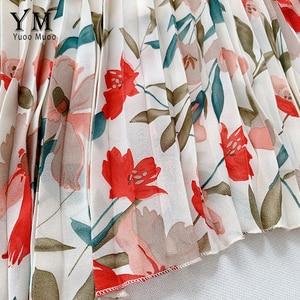 Image 5 - YuooMuoo New 2020 Women Chiffon Skirt Summer Flower Elegant Pleated Skirt Ladies Vintage High Waist Long Skirts