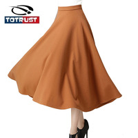 Long Wool Skirt Women For Autumn And Winter 2016 Women Skirt Vintage Retro Wool Maxi Elastic
