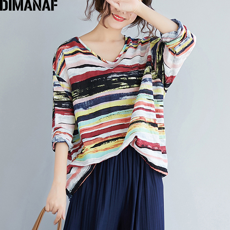 DIMANAF Plus Size T-Shirts Women Vintage Linen Basic Large Tops Tees Loose Female Lady V-Neck Shirts Long Sleeve Print Striped
