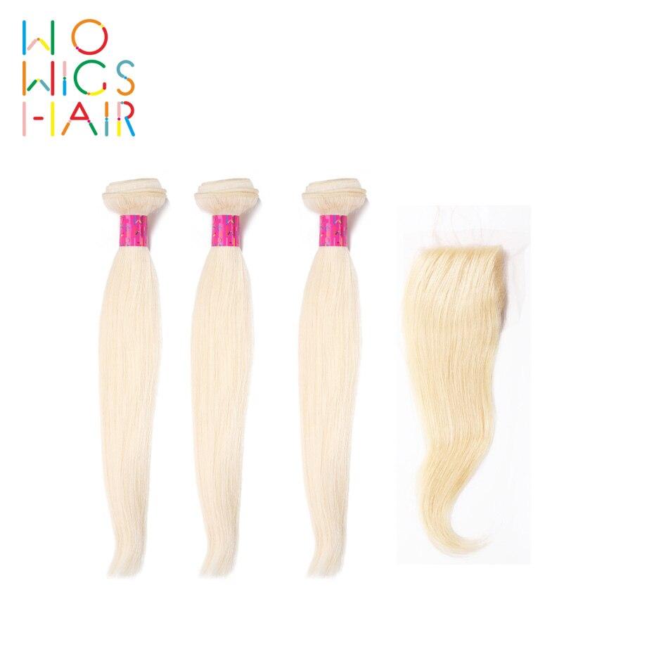 Wowigs волосы платины светлые прямые волосы 3 Связки дело с топ синтетическое закрытие шнурка волос/фронтальные
