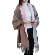 Womens Warm Artificial Cashmere Tassel Poncho With Batwing Sleeve Solid Knitted Oversize Shawl Cardigans