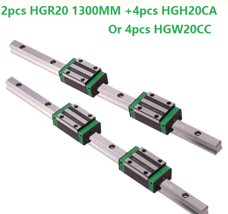 2pcs linear guide rail HGR20 1300mm with 4pcs HGH20CA Or HGW20CC linear Carriage block for cnc router 2pcs linear guide rail HGR20 1300mm with 4pcs HGH20CA Or HGW20CC linear Carriage block for cnc router