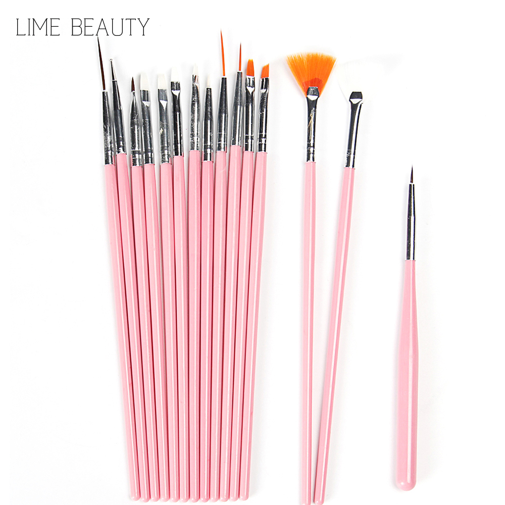Limebeauty 15 pcs nail art decorations brush set tools for Avon nail decoration brush