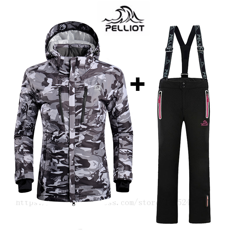 Pelliot Top Quality Women`s Ski Suit Waterproof Super Warm Mountain Skiing Suit Outdoor Ski Jacket+snowboard Pant Ski