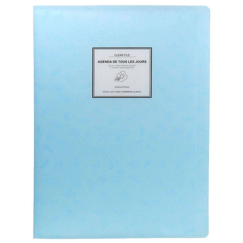 A4 Display Book Folder,Paper Storage Folder Plastic 20 Pockets(Blue)