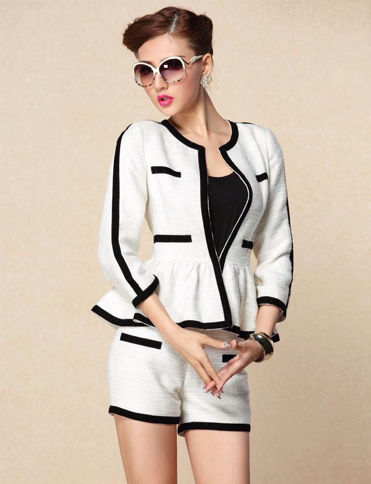 High-end Black White Patchwork Ruffle Decoration Blazer and Short Pants Women Suits Autumn 2015 (2)