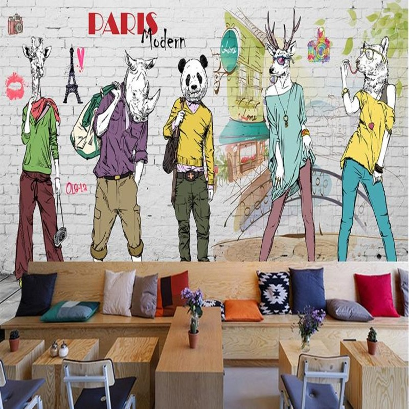 Custom 3d mural mural wallpaper petty girl fashion casual coffee Station Restaurant trend clothing store wallpaper