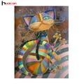 HUACAN DIY 5D Diamante Animal Mosaico Artesanal Presente de Aniversário Do Bebê Padrões de Diamante Bordado Ponto Cruz Gato Colorido Strass