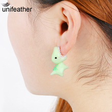 unifeather Handmade Polymer Clay Soft Cute Dinosaur Earrings For Women Fashion Animal Piercing Ear Stud Earring Jewelry 3 Colors
