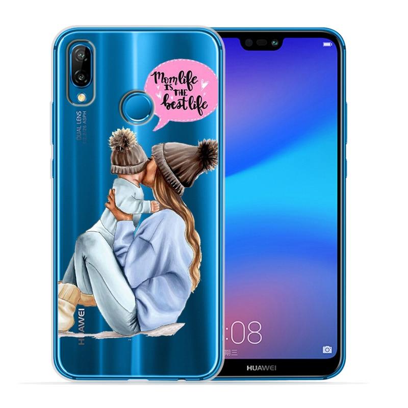 Чехол для телефона с черными и коричневыми волосами для мамы и дочки Huawei P30 Lite P30 Pro P20 Lite P8Lite P9Lite P10 P Smart Capa - Цвет: 14