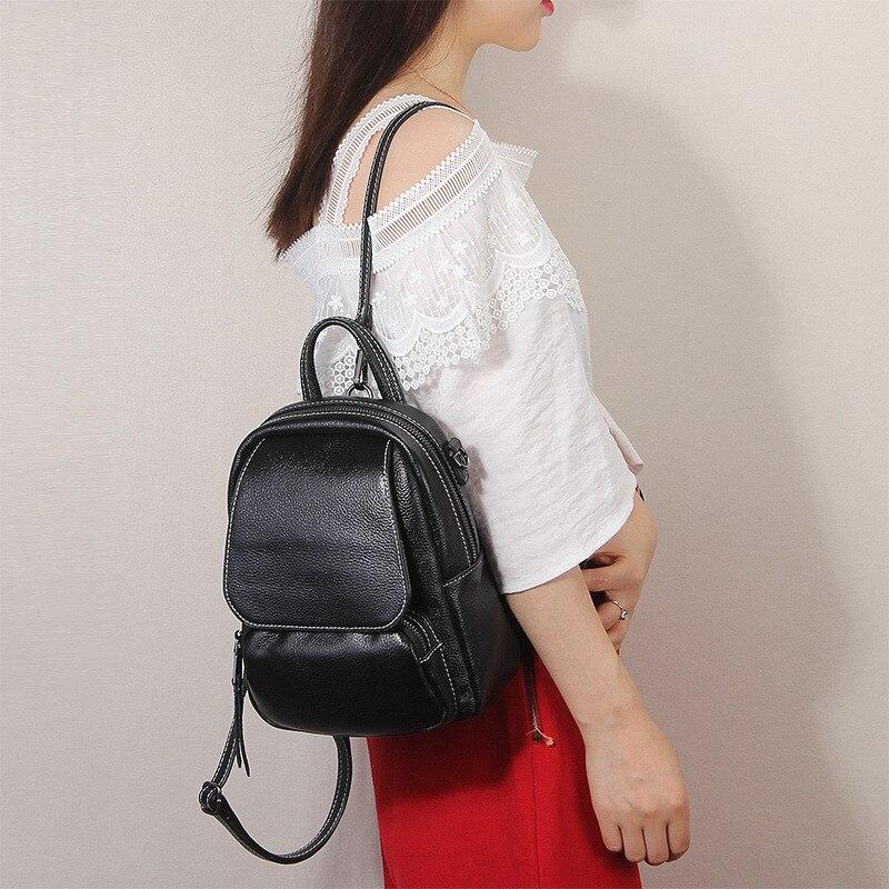 Nesitu mode rouge bleu gris noir rouge jaune véritable cuir petites femmes sacs à dos femme sacs à bandoulière femme pour fille # M1906