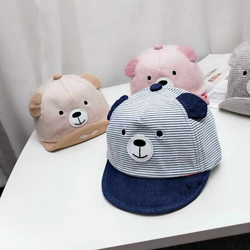 3-12M Cartoon Bear Children Hat Spring Summer New Baby Adjustable Baseball Cap Cotton Newbron Caps Soft Sunhat Baby Accessories