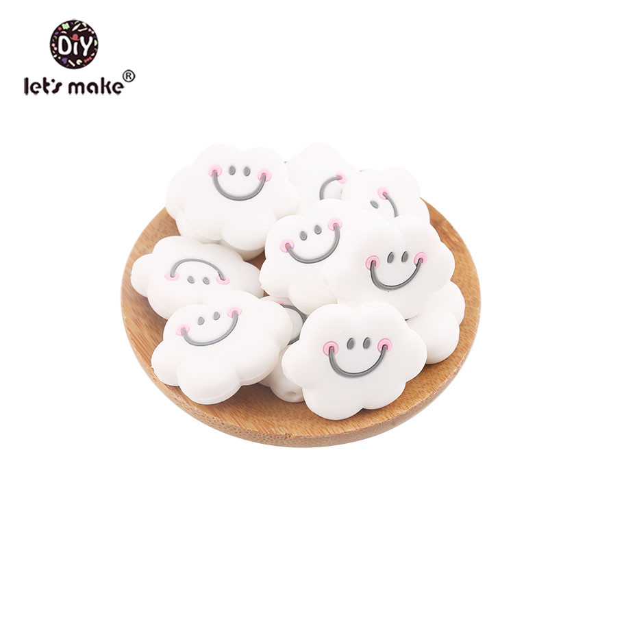 Let's Make Baby Teether 5pcs Perle Silicone Beads Smiling Cloud Shape Making Jewelry Necklace Beads Teething Toys Nurse Gift