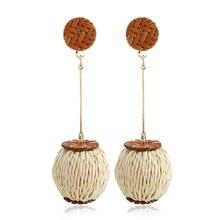 hot deal buy fashion design geometric individuality rattan knitted lantern earrings bohemian ethnic hand-woven tassel women's trendy earrings