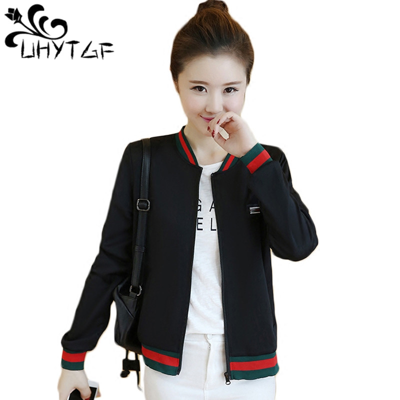 UHYTGF Baseball uniform Women   Basic     jackets   Coats Women's Wild   Jackets   Spring autumn windbreaker Korean Slim   Jackets   Famale X213