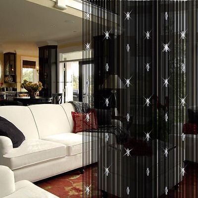 Sparkling Beaded String Door Window Curtain Divider Room Fly Screen