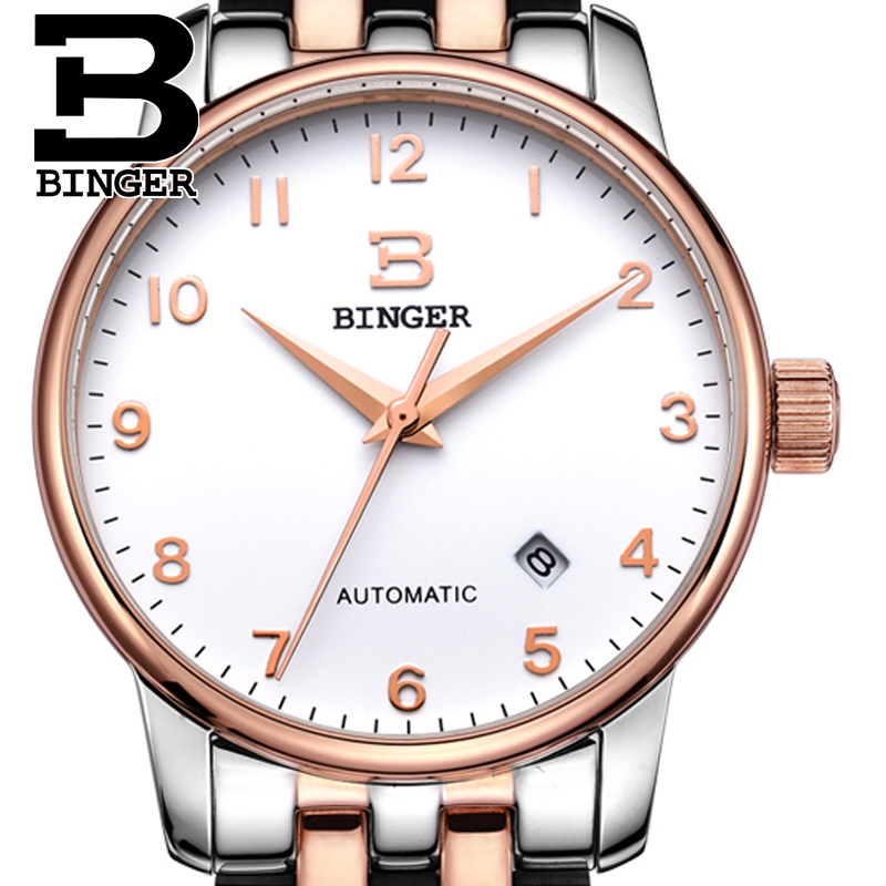 Switzerland watches men luxury brand18K gold Wristwatches BINGER business Mechanical Wristwatches full stainless steel B5005A 8