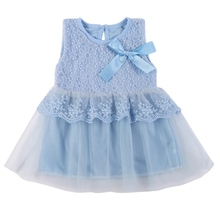 Kids Cotton Bow Lace Ball Gown Casual Chiffon Princess Baby Girls Dresses 0-2Y