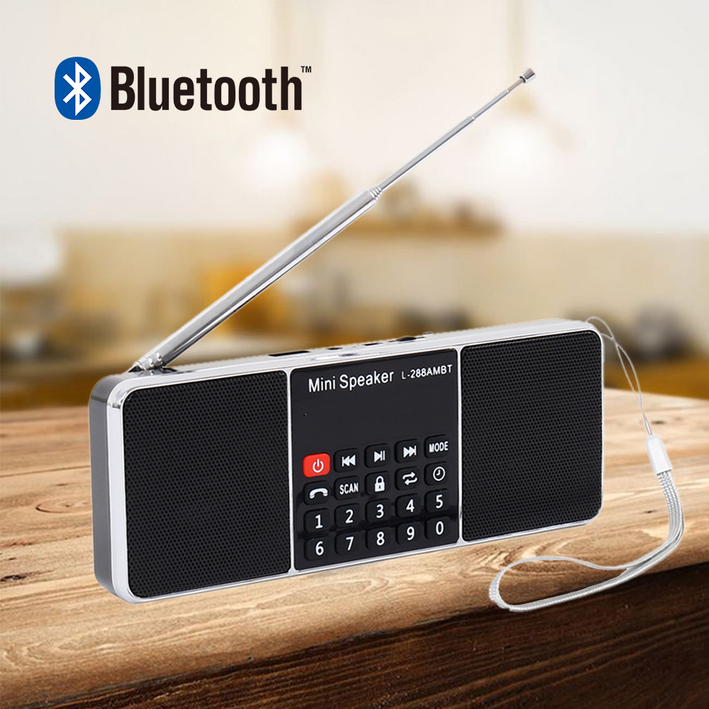 Digital Radio AM/FM Dual Bluetooth Speakers Handsfree Call 3.5mm AUX Line in MP3 Player TF/SD Card LED Display Screen