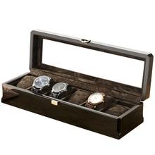 Nowy zegarek z drewna wyświetlacz Box organizator czarny Top zegarek drewniane przypadku mody zegarek do przechowywania pudełka do pakowania biżuteria Case