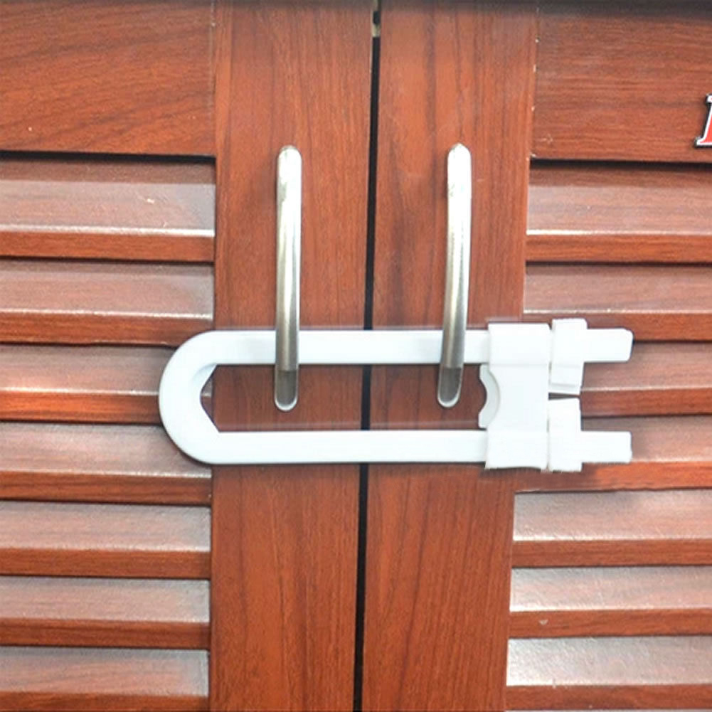 Child Infant Baby Kids Safety Locks Drawer Door Cabinet Cupboard Refrigerator Toilet U Shape Lock Key Bookcase Kid Protection