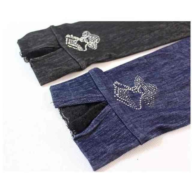 lady summer imitation denim short pants women knee length patchwork bow floral lace capris slim fitted pencil fake jeans Pants & Capris