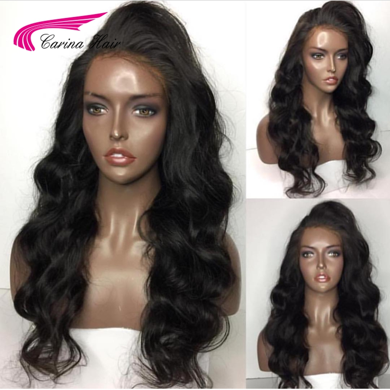 Carina Body Wave Full Lace Human Hair Wigs Brazilian Remy Hair Wigs Pre Plucked Natural Hairline 12″-24″ Natural Black Color