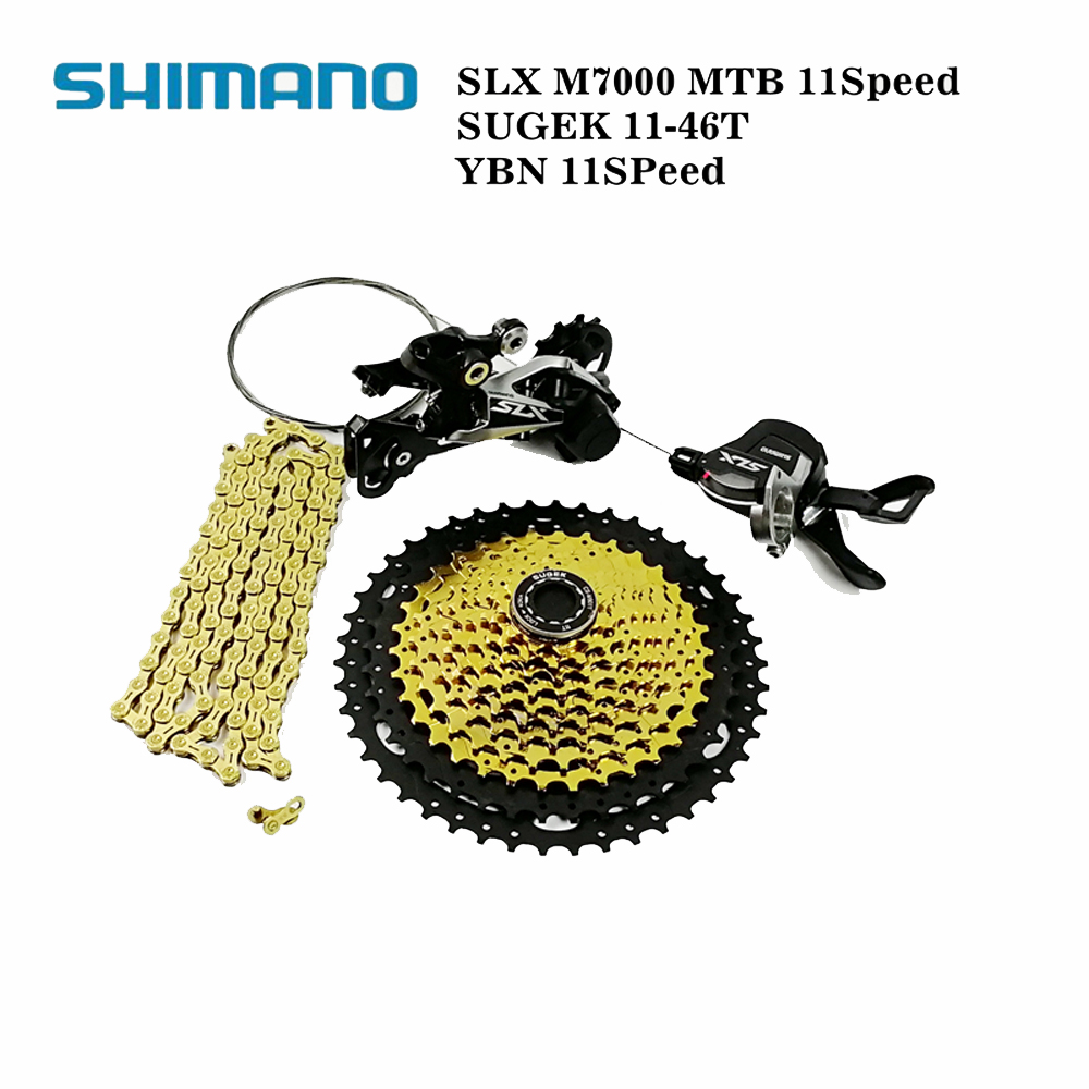 shimano slx m7000 bike mtb 11speed shifter rear derailleur with SUGEK 11 46T cassette and YBN 11speed gold chain