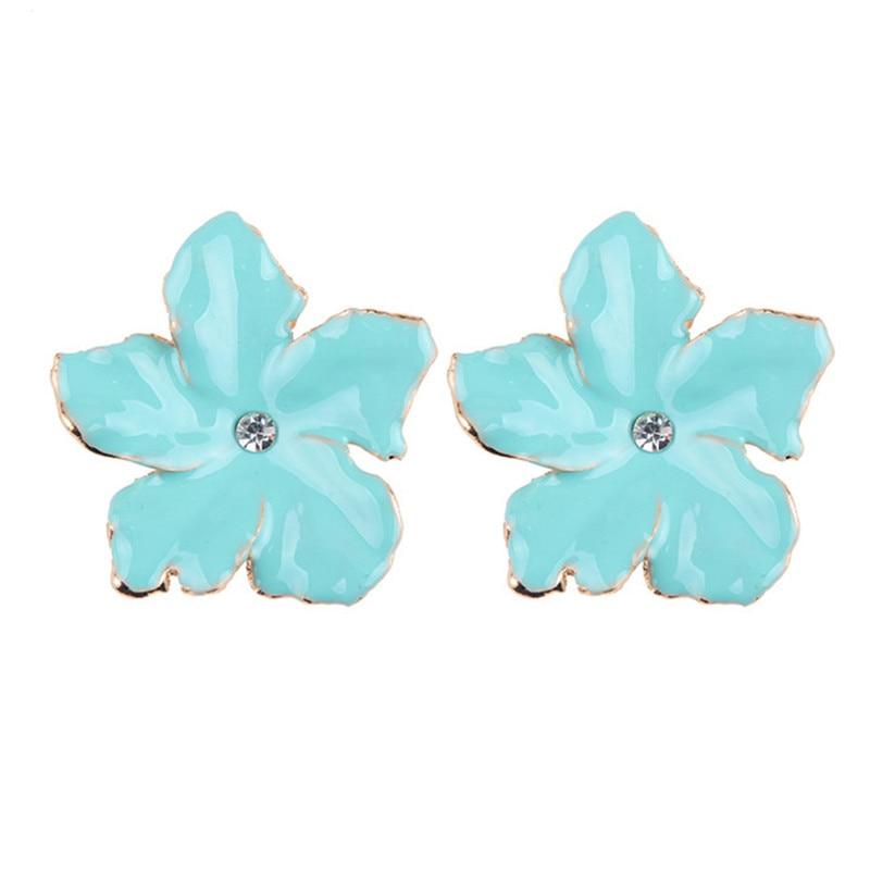 2018 fashion Best lady Charm Flower Earrings Bohemian Holiday Jewelry New Pinky Color Cute Stud Earrings For Women