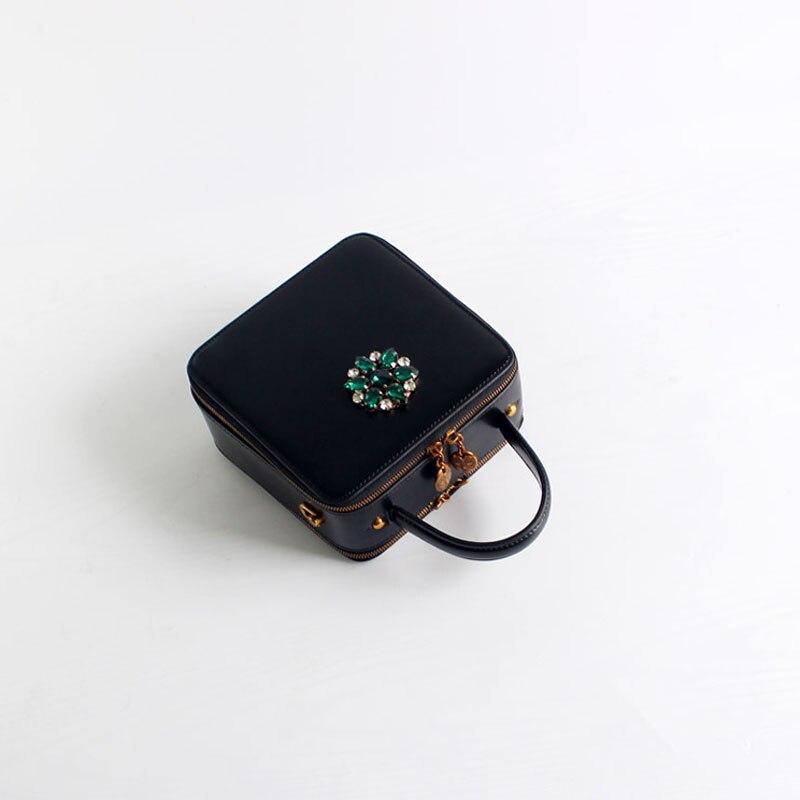 Sac carré en cuir de bovin pour femme 2019 rétro mode femmes diamants noirs sac à main sac à bandoulière unique mini sac c381 - 2