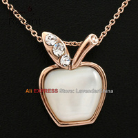 A1 P342 Italina Rigant Fashion CZ Simulated Opal Apple Necklace Pendant Charm 18KGP Crystal Jewelry