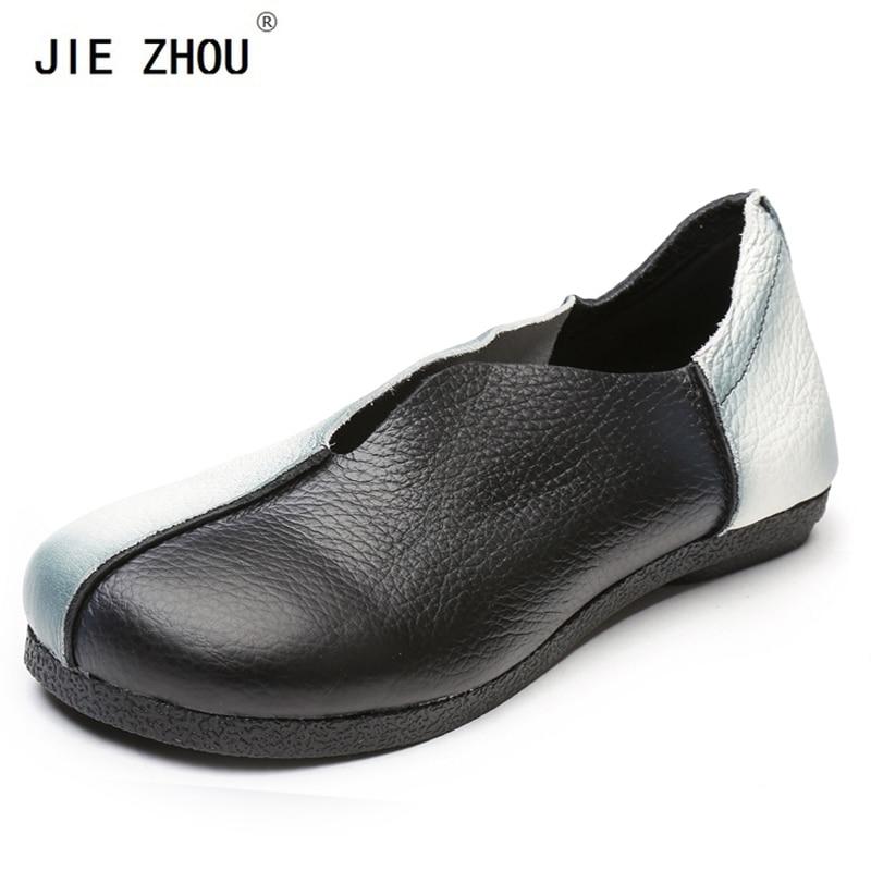 Nouveau mode femmes appartements noir blanc Patchwork femmes chaussures en cuir véritable chaussures plates femme décontracté travail mocassins ballerines