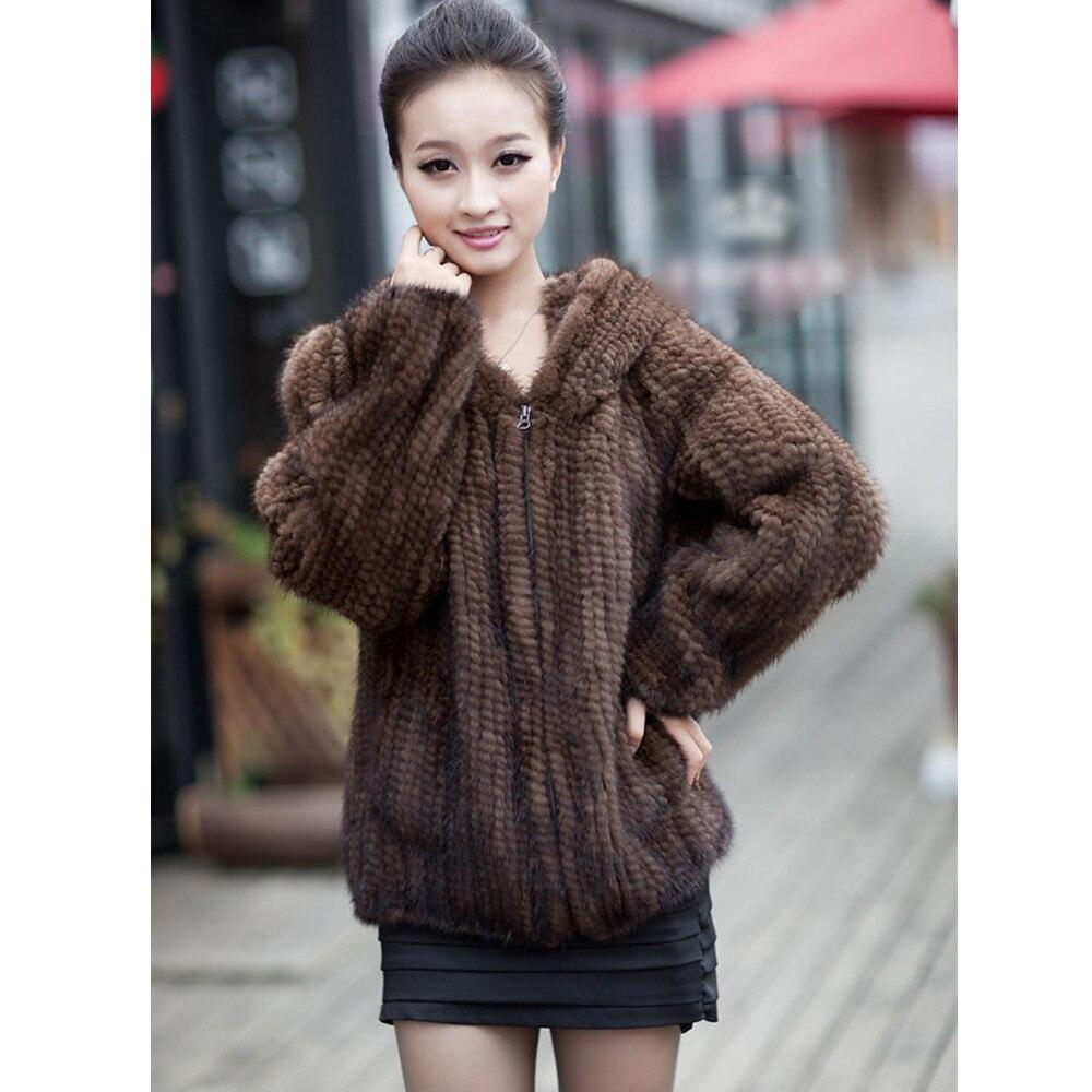 ZY81045 Reale Fur Coat Jacket Women Genuine Real Maglia Pelliccia di Visone Cappotti della tuta sportiva con Cappuccio Taglia L alla 4XL Plus. Felpe Size