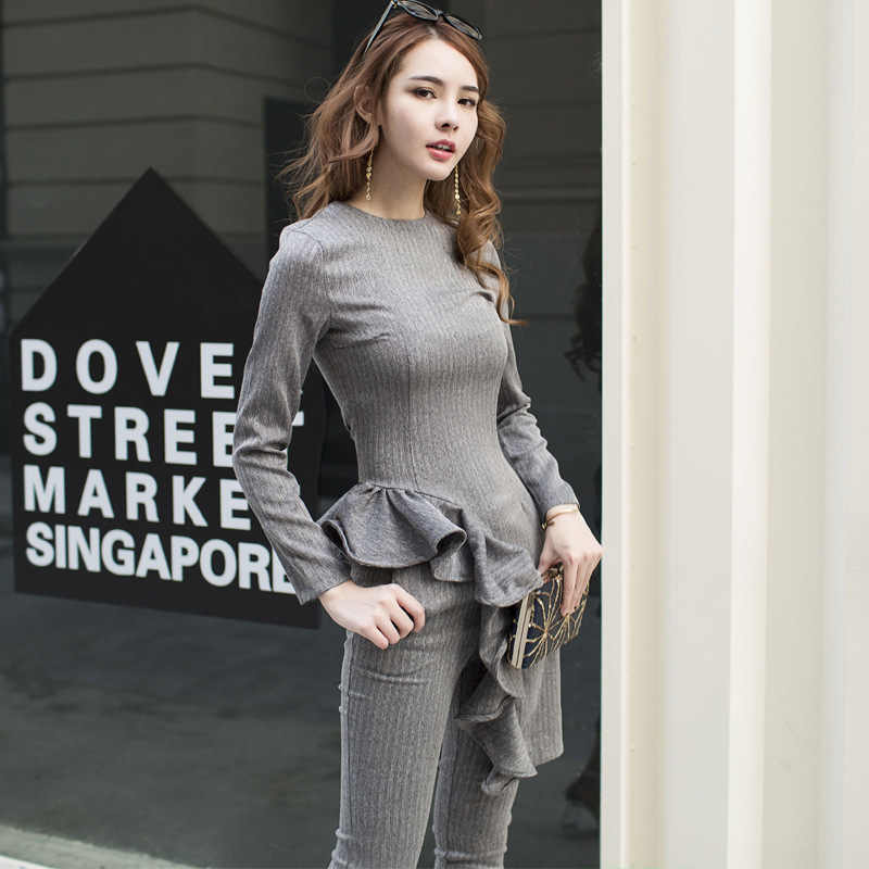 1cc3a853070f5 Women Two Piece Sets Slim Ruffles Long Tops Ankle Length Pencil Pants  Elegant Korean Office Party Fashion Clothing 2 Outfits