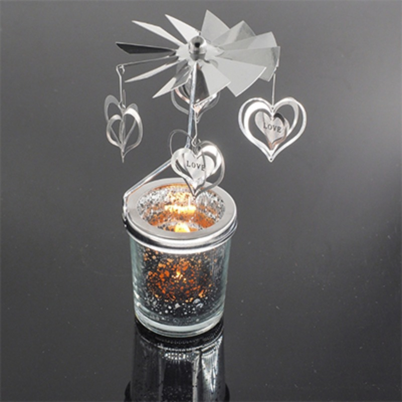Candle Holders Romantic Rotary Spinning Tealight Candle Metal Tea Light Holder Carousel Home Decoration