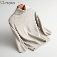 High Quality Autumn and Winter Vintage Women Sweaters Pullovers Loose Turtleneck Knitted Pullover Pink Sweaters Crop Top