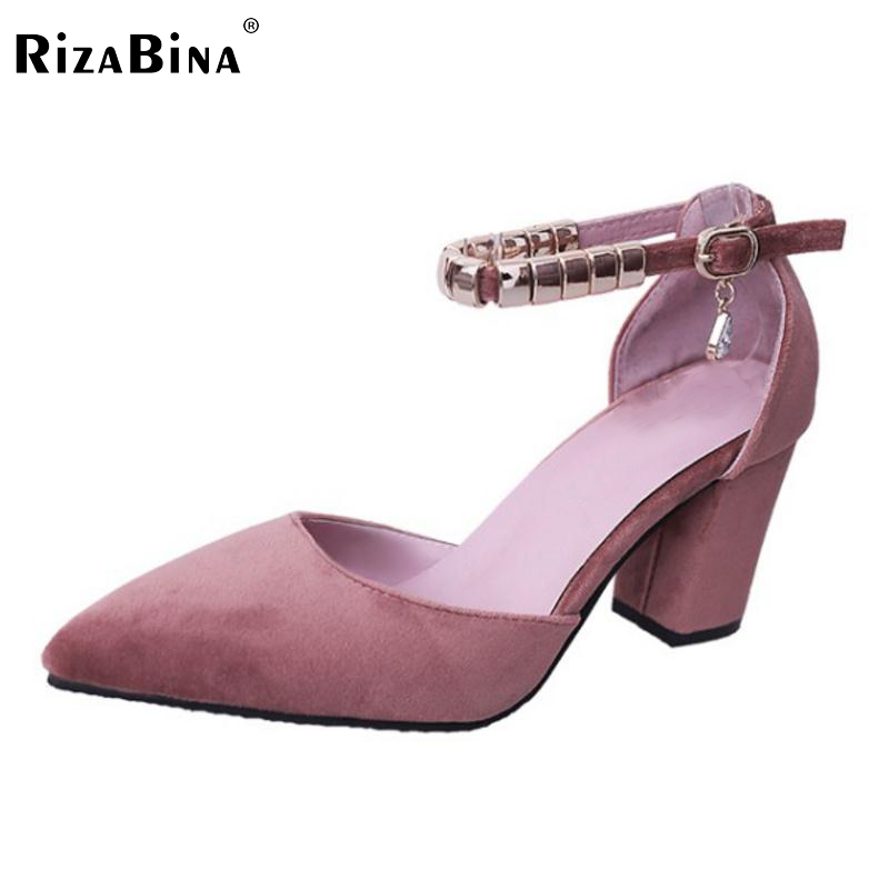 Women High Heel Sandals Pointed Toe Sexy Shoes Women Ankle Strap Beading Sandals Thick Square Heels Female Footwear Size 34-39