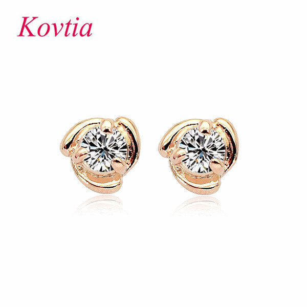 Fashion Small Stud Earring Shining Zircon Rhinestone Jewelry Plated 18k Gold White Stone Earrings Brinco