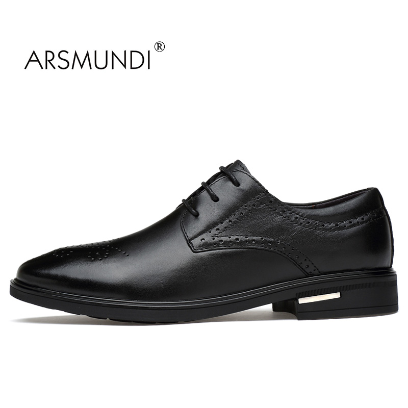 ARSMUNDI Men Dress Shoes Business Genuine Leather Black Fashion Business Dress Shoes 2017 Lace Up Men Formal Dress ZY-9922