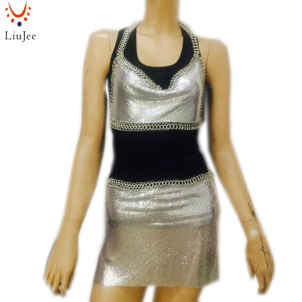 Sexy Chainmail Waist Chain Mini Skirt Halter Necklace Top Beach Chain Bra Croptop Bandeau Bikini Wear Set Jewelry XR-048