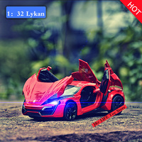 New Hot Sell1 32 Scale Lykan Alloy Diecast Car Model Pull Back Toy Cars Electronic Car
