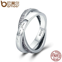 BAMOER 2018 New 100 925 Sterling Silver Sweet Promise Ring Dazzling CZ Female Finger Ring For