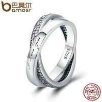 BAMOER 2018 New 100 925 Sterling Silver Sweet Promise Ring Dazzling CZ Female Finger Ring For